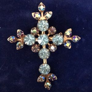 Vintage Cross Pin/Pendant Blue Stones
